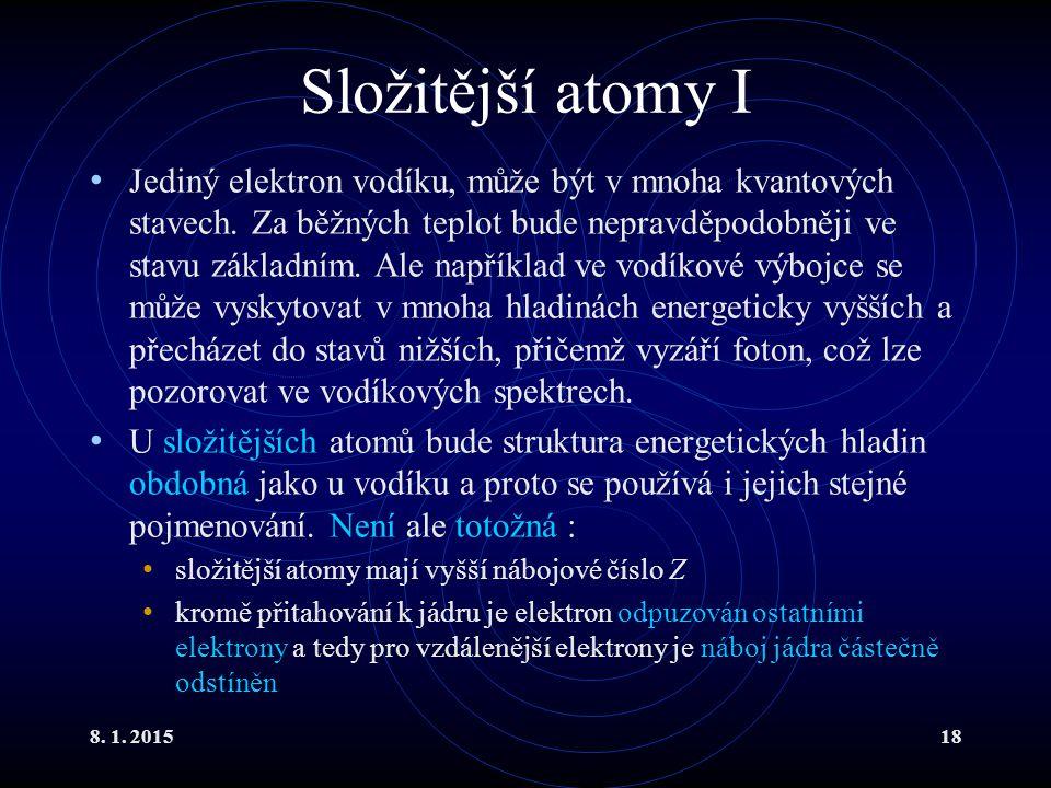 Složitější atomy I