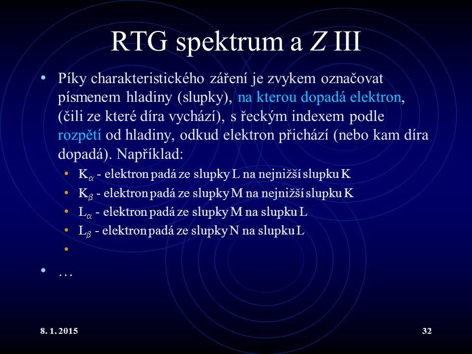 RTG spektrum a Z III