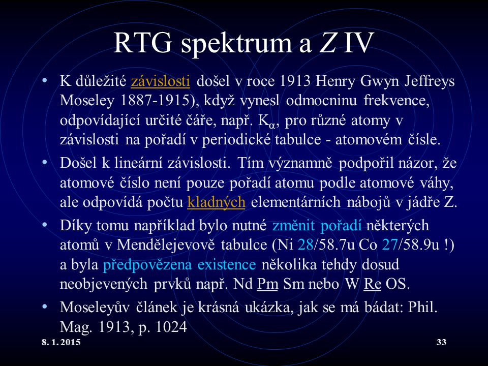 RTG spektrum a Z IV
