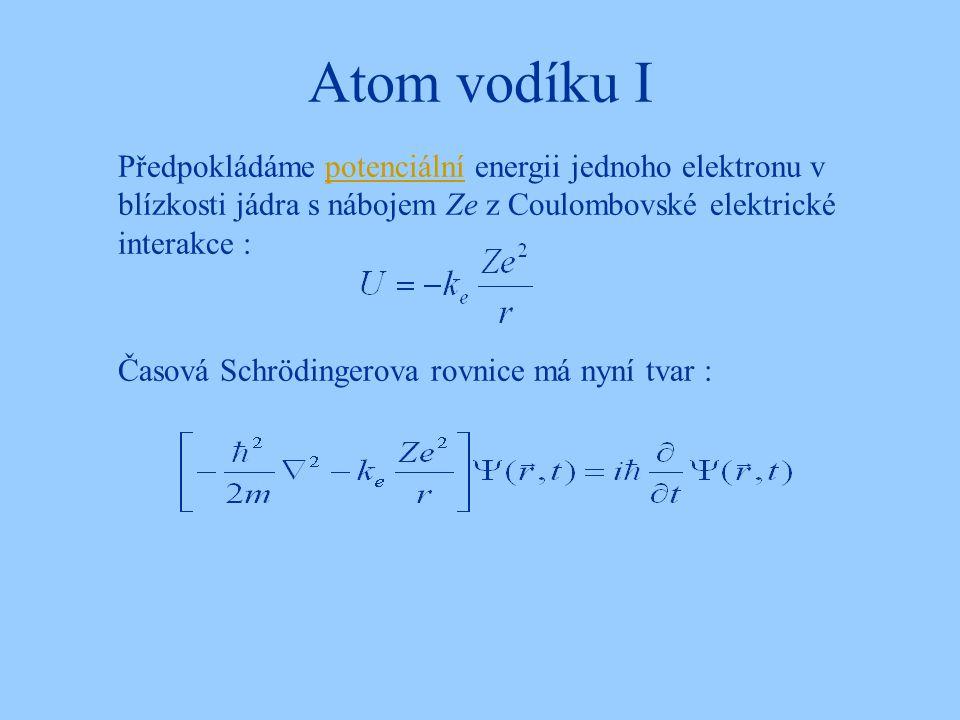 Atom vodíku I Předpokládáme potenciální energii jednoho elektronu v blízkosti jádra s nábojem Ze z Coulombovské elektrické interakce :