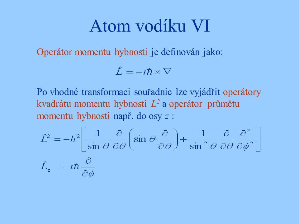 Atom vodíku VI Operátor momentu hybnosti je definován jako: