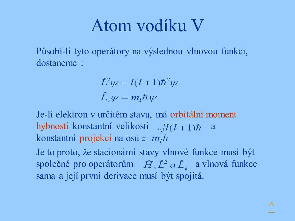 Atom vodíku V Působí-li tyto operátory na výslednou vlnovou funkci, dostaneme :