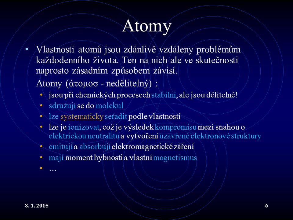 Atomy Vlastnosti atomů jsou zdánlivě vzdáleny problémům každodenního života. Ten na nich ale ve skutečnosti naprosto zásadním způsobem závisí.