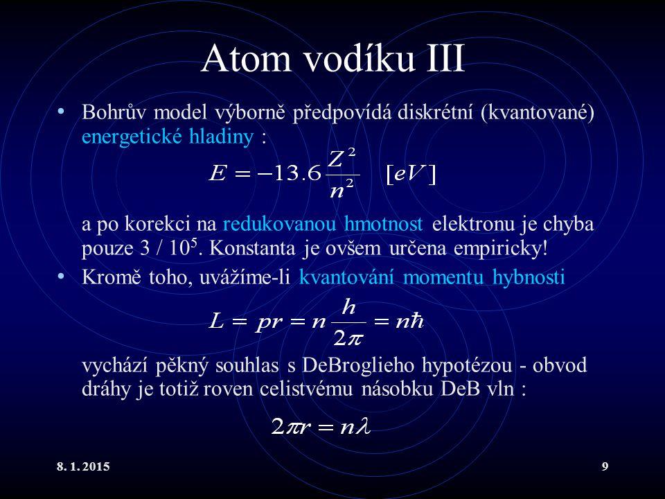 Atom vodíku III Bohrův model výborně předpovídá diskrétní (kvantované) energetické hladiny :
