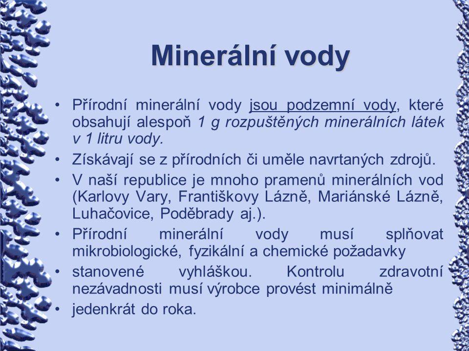 Minerální vody Přírodní minerální vody jsou podzemní vody, které obsahují alespoň 1 g rozpuštěných minerálních látek v 1 litru vody.