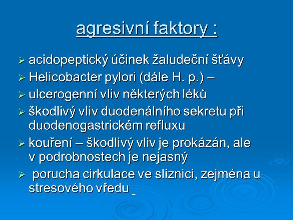 agresivní faktory : acidopeptický účinek žaludeční šťávy