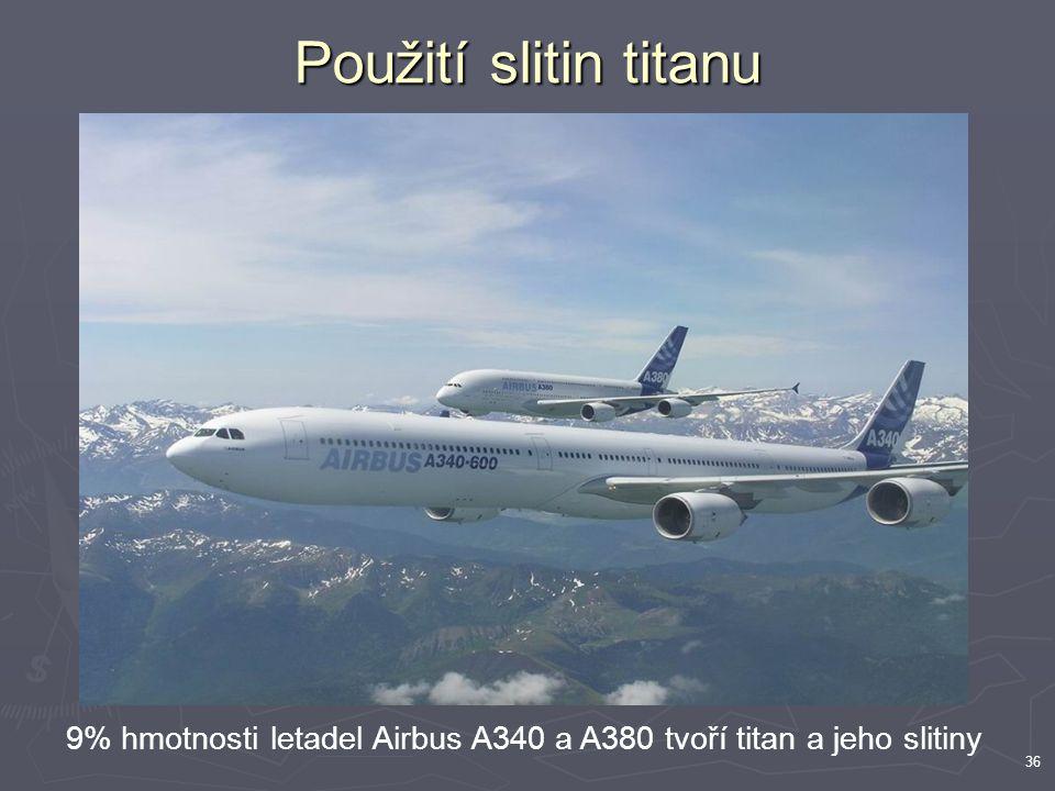 9% hmotnosti letadel Airbus A340 a A380 tvoří titan a jeho slitiny