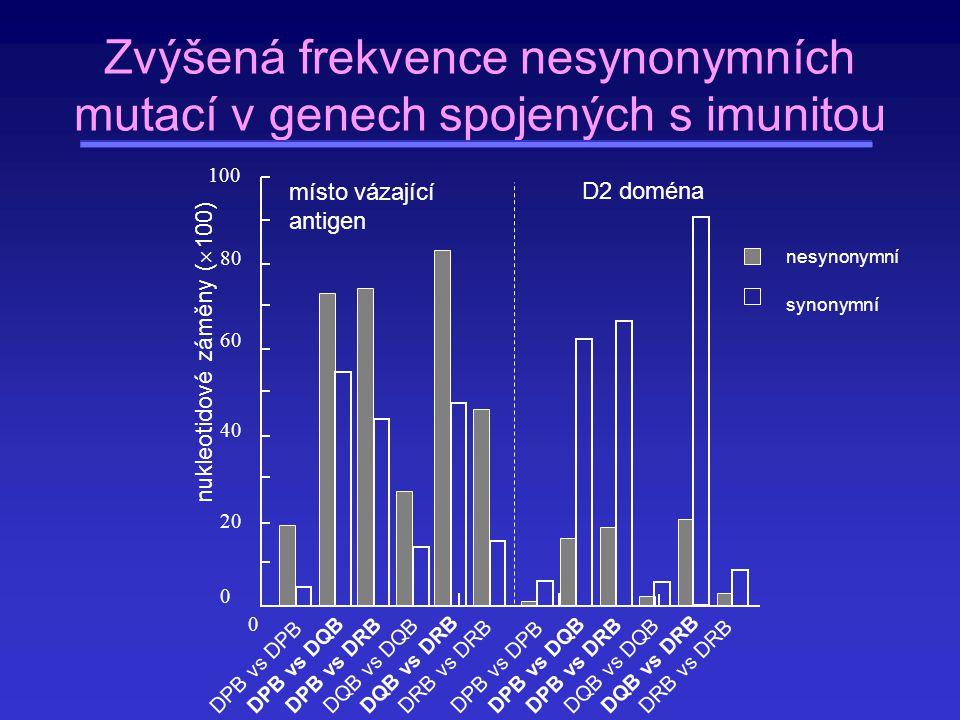 Zvýšená frekvence nesynonymních mutací v genech spojených s imunitou