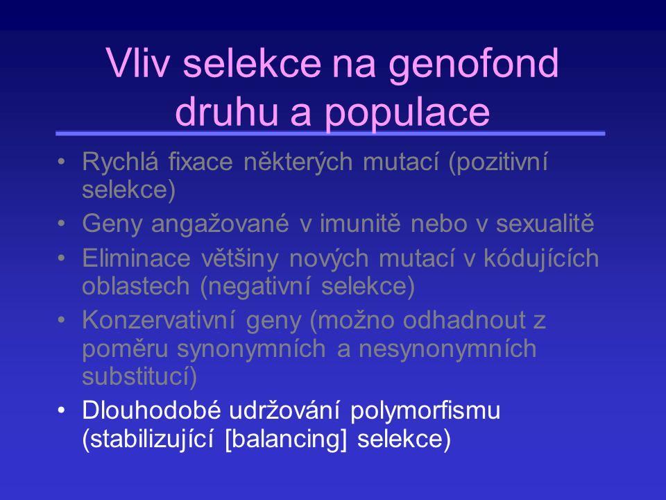 Vliv selekce na genofond druhu a populace