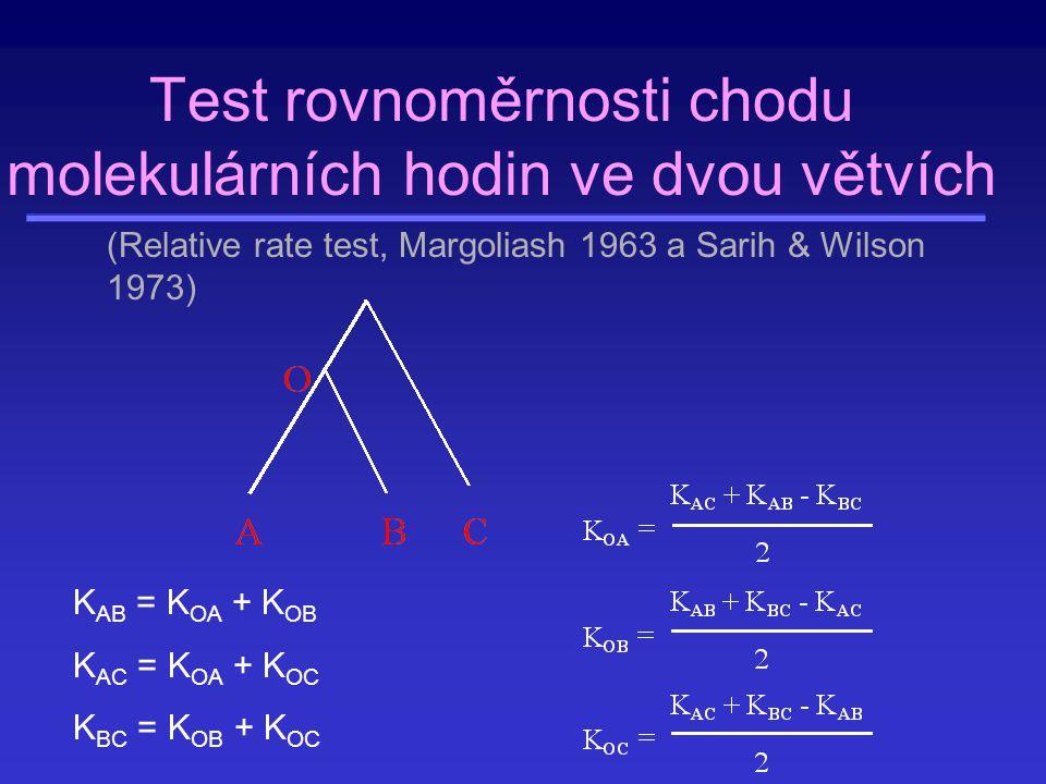 Test rovnoměrnosti chodu molekulárních hodin ve dvou větvích