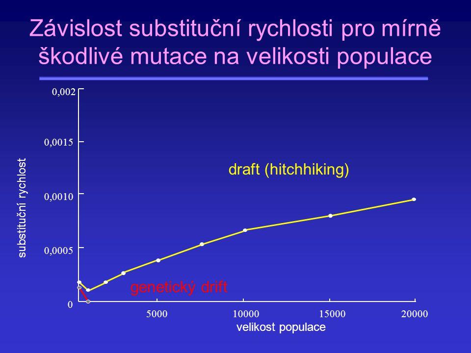 Závislost substituční rychlosti pro mírně škodlivé mutace na velikosti populace