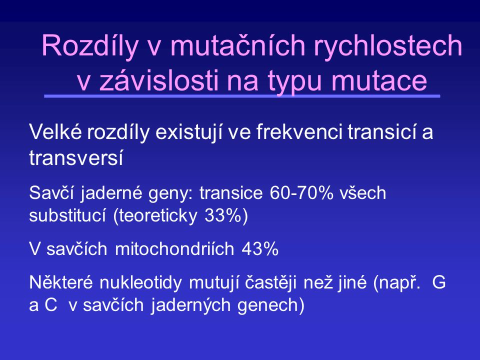 Rozdíly v mutačních rychlostech v závislosti na typu mutace
