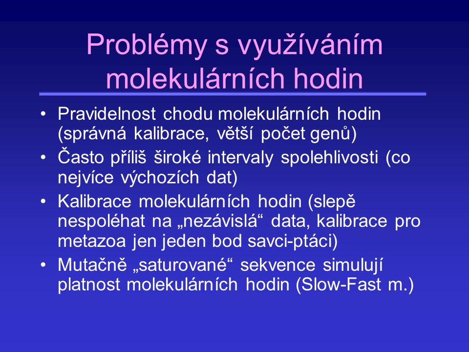 Problémy s využíváním molekulárních hodin