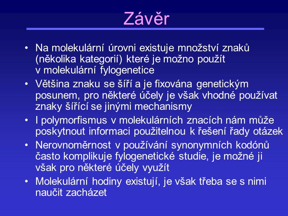 Závěr Na molekulární úrovni existuje množství znaků (několika kategorií) které je možno použít v molekulární fylogenetice.