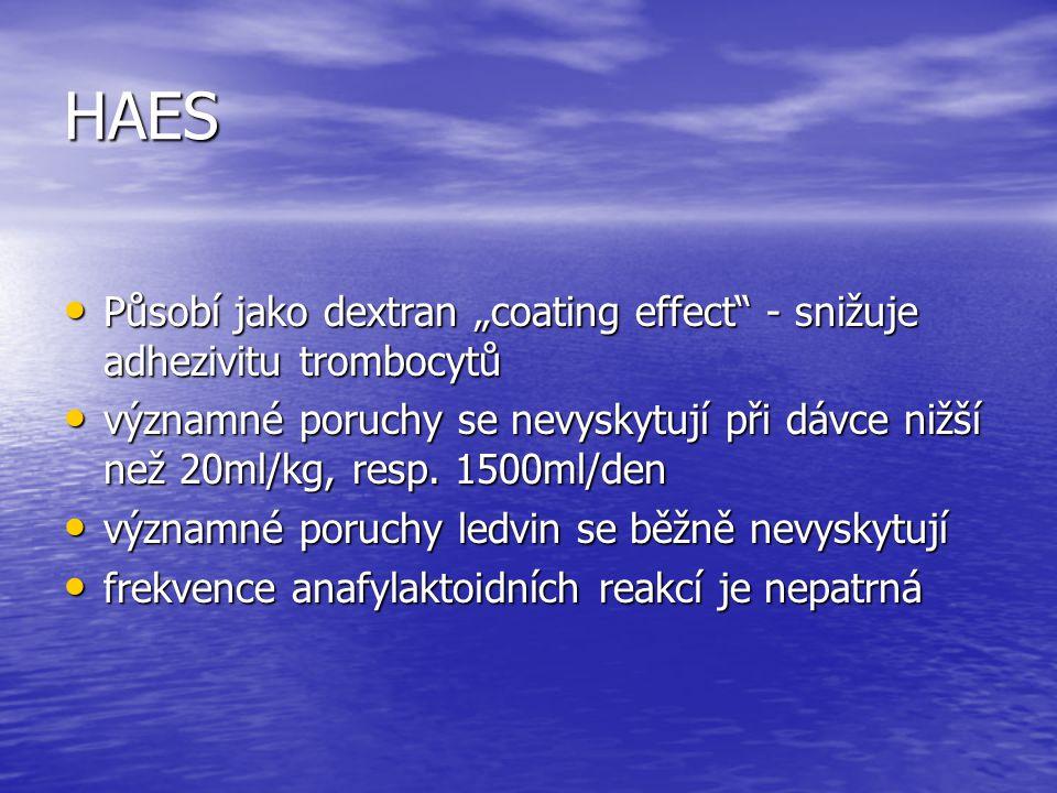 """HAES Působí jako dextran """"coating effect - snižuje adhezivitu trombocytů."""