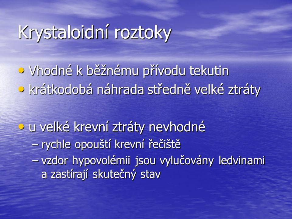 Krystaloidní roztoky Vhodné k běžnému přívodu tekutin
