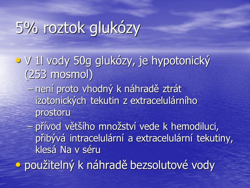 5% roztok glukózy V 1l vody 50g glukózy, je hypotonický (253 mosmol)