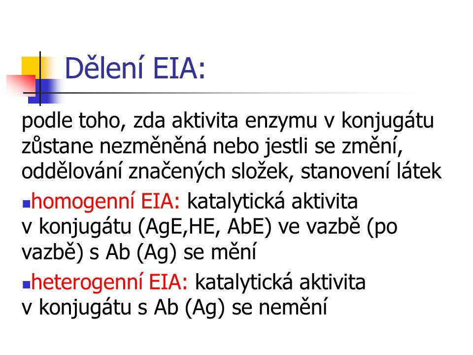Dělení EIA: podle toho, zda aktivita enzymu v konjugátu zůstane nezměněná nebo jestli se změní, oddělování značených složek, stanovení látek.