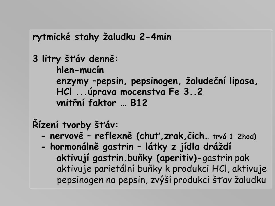 rytmické stahy žaludku 2-4min