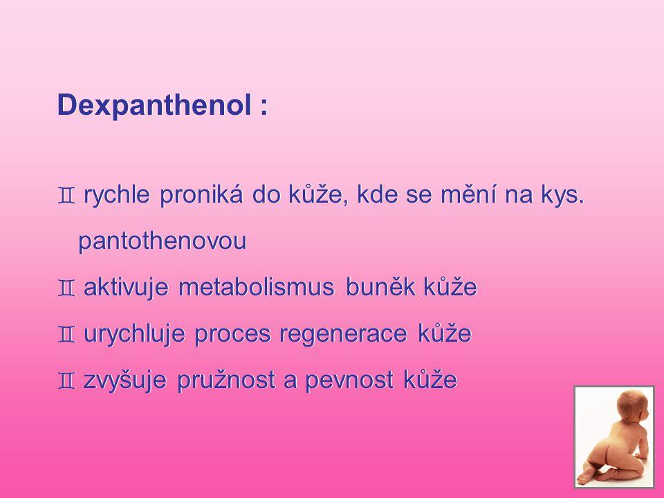 Dexpanthenol : rychle proniká do kůže, kde se mění na kys.