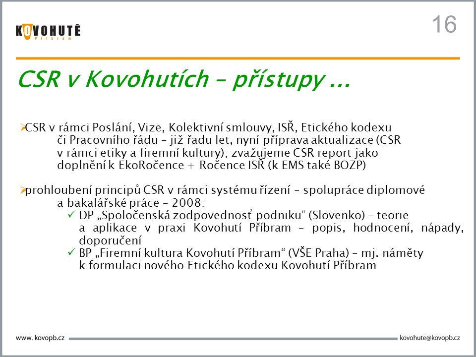 16 CSR v Kovohutích – přístupy ...