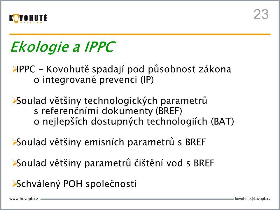 23 Ekologie a IPPC IPPC – Kovohutě spadají pod působnost zákona