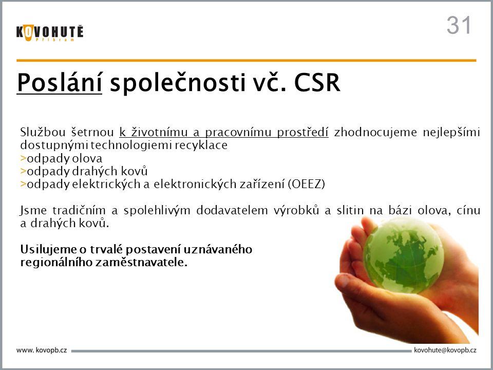 Poslání společnosti vč. CSR