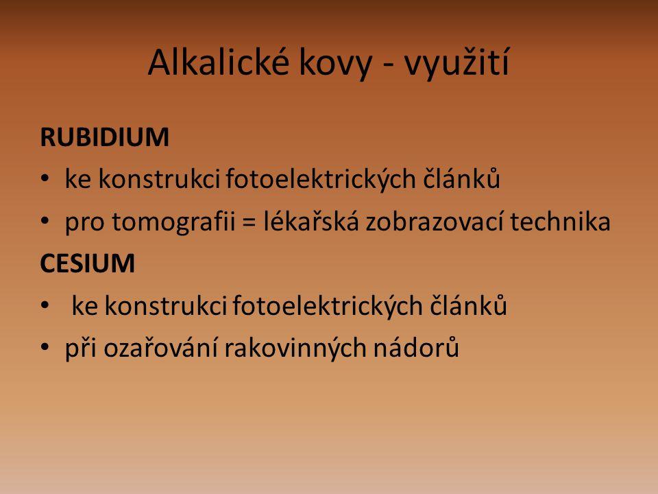 Alkalické kovy - využití