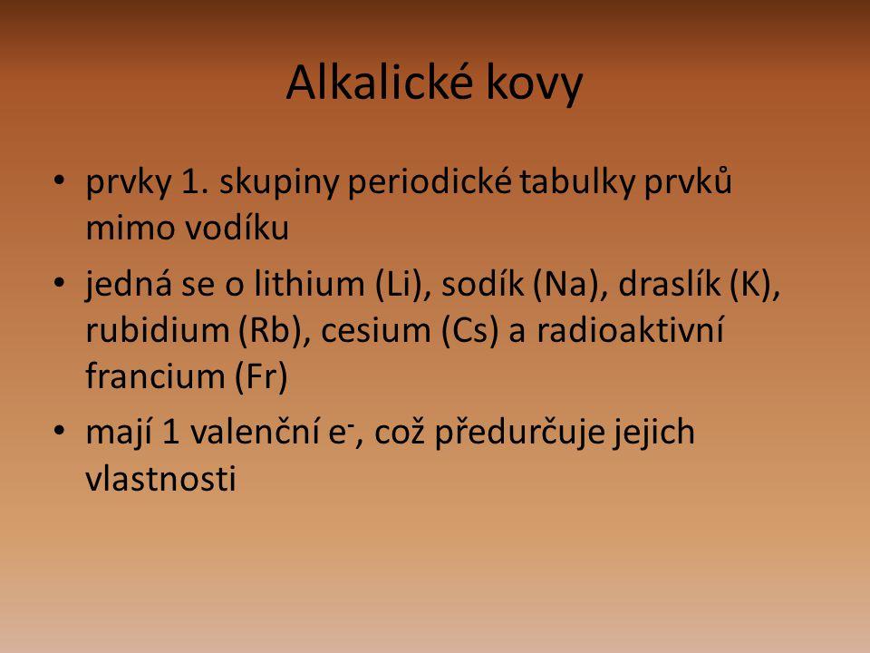 Alkalické kovy prvky 1. skupiny periodické tabulky prvků mimo vodíku