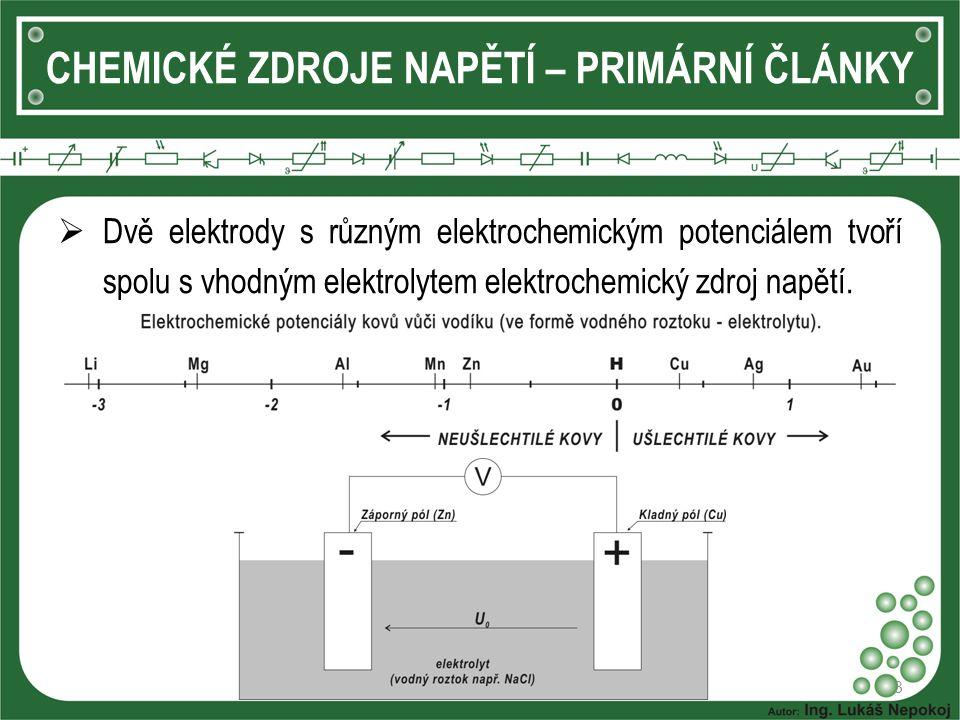 CHEMICKÉ ZDROJE NAPĚTÍ – PRIMÁRNÍ ČLÁNKY