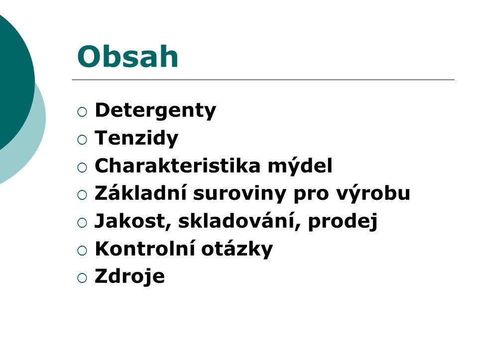 Obsah Detergenty Tenzidy Charakteristika mýdel