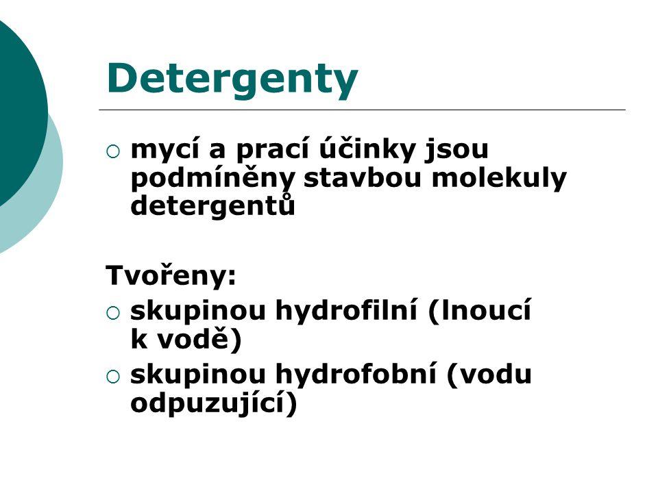 Detergenty mycí a prací účinky jsou podmíněny stavbou molekuly detergentů. Tvořeny: skupinou hydrofilní (lnoucí k vodě)