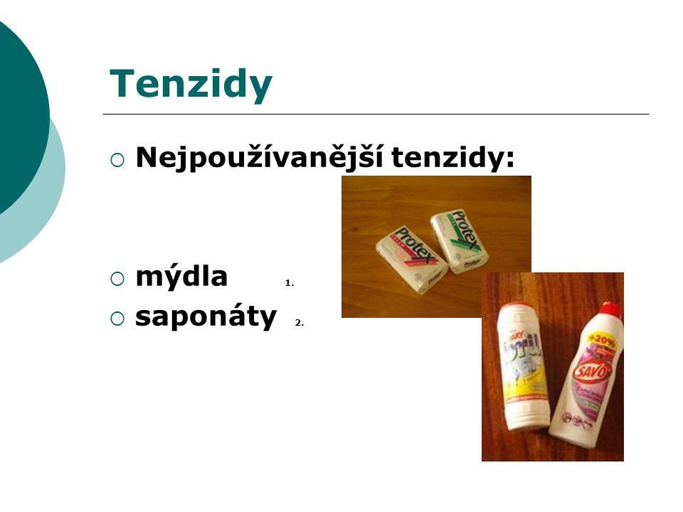 Tenzidy Nejpoužívanější tenzidy: mýdla 1. saponáty 2.