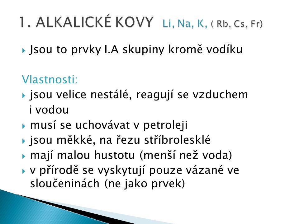 1. ALKALICKÉ KOVY Li, Na, K, ( Rb, Cs, Fr)