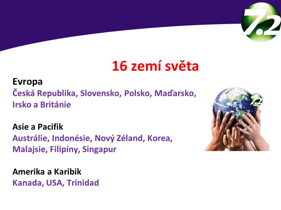 16 zemí světa Evropa. Česká Republika, Slovensko, Polsko, Maďarsko, Irsko a Británie. Asie a Pacifik.