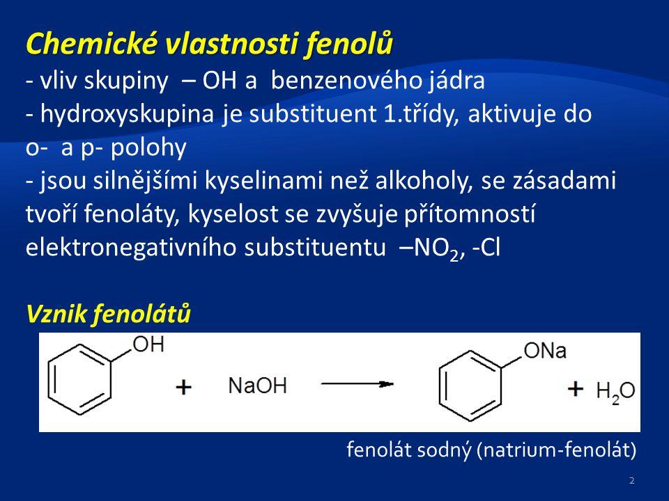 Chemické vlastnosti fenolů