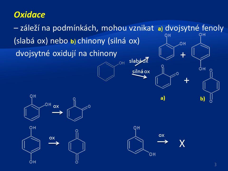 Oxidace – záleží na podmínkách, mohou vznikat a) dvojsytné fenoly (slabá ox) nebo b) chinony (silná ox)