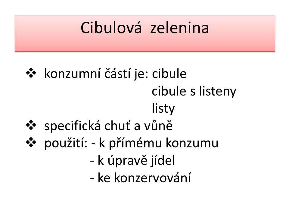 Cibulová zelenina konzumní částí je: cibule cibule s listeny listy