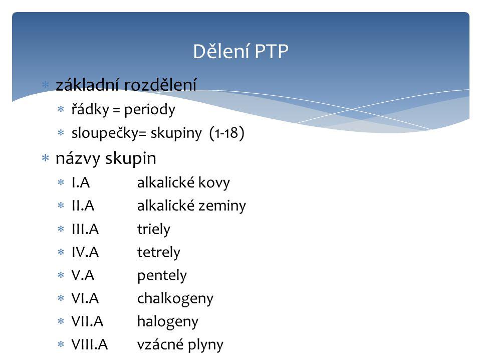 Dělení PTP základní rozdělení názvy skupin řádky = periody