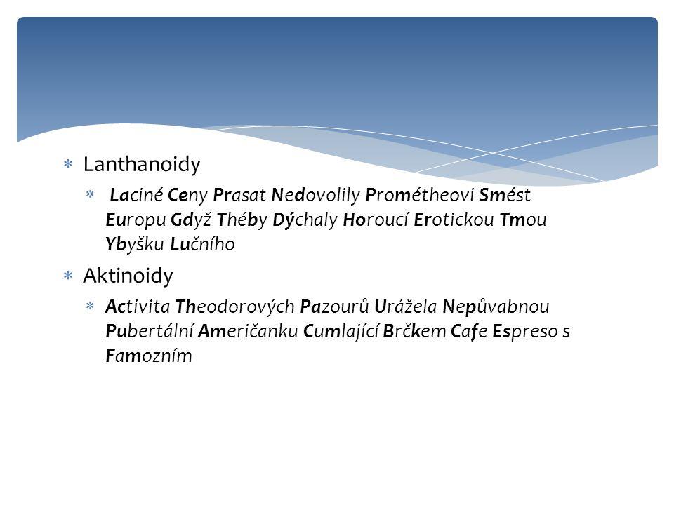 Lanthanoidy Aktinoidy