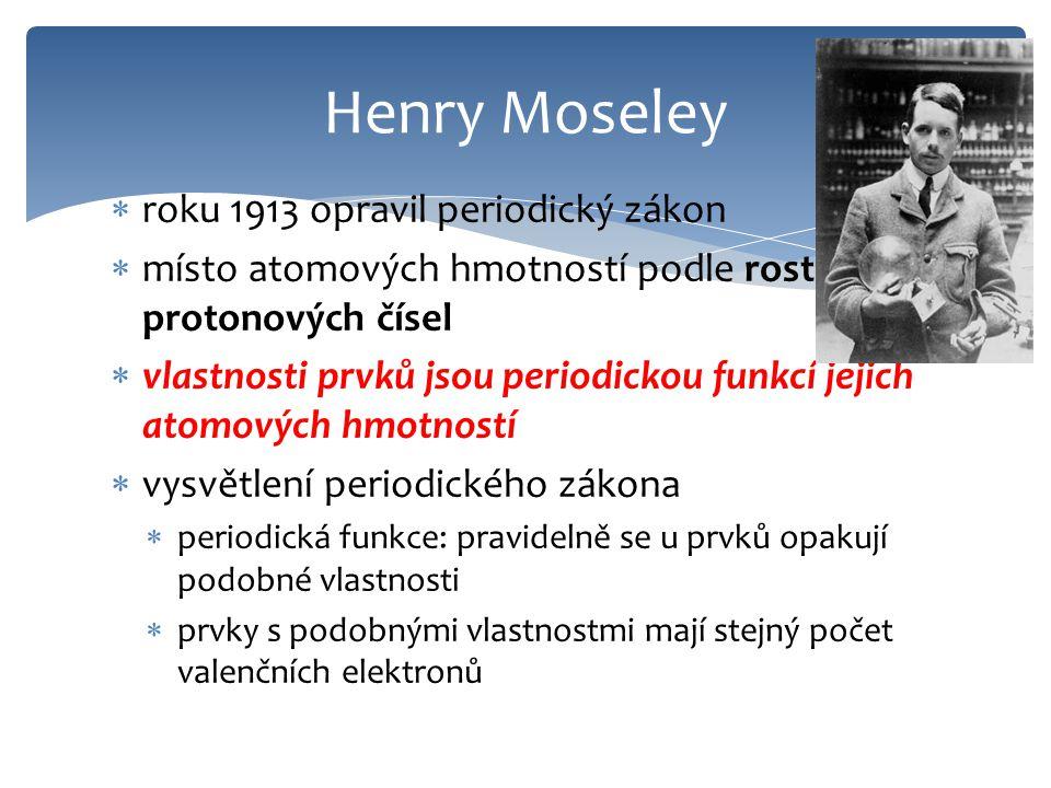Henry Moseley roku 1913 opravil periodický zákon