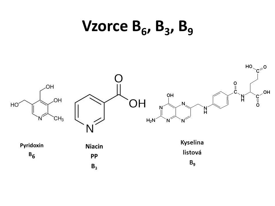 Vzorce B6, B3, B9 Kyselina listová B9