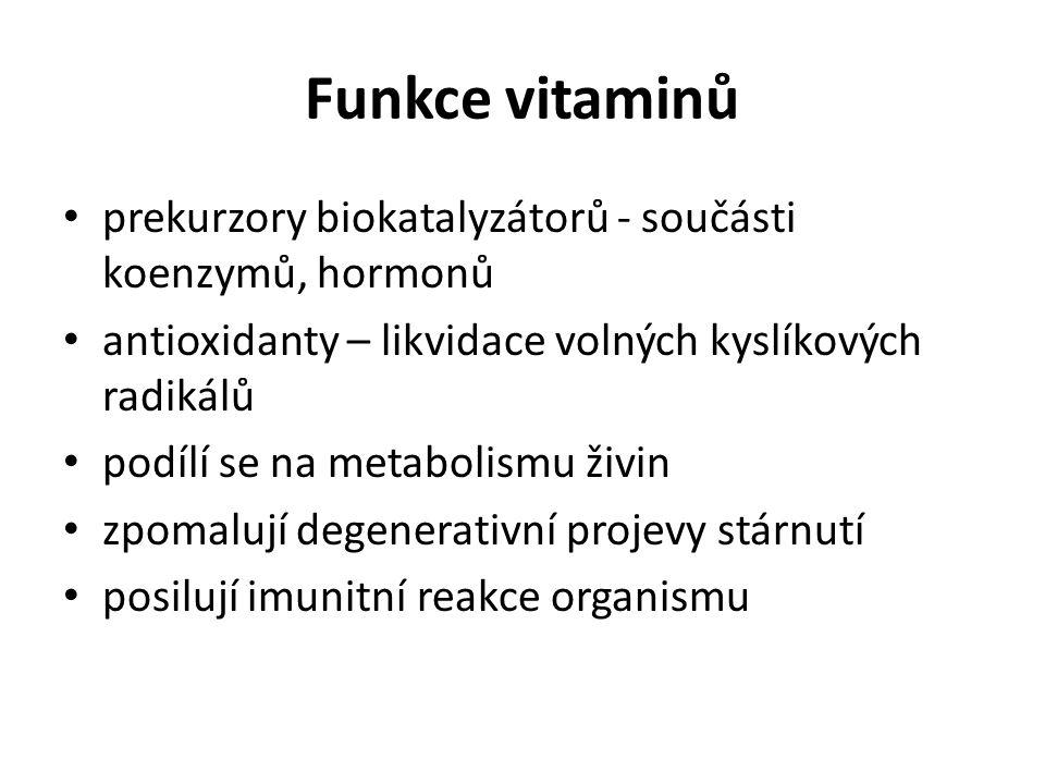 Funkce vitaminů prekurzory biokatalyzátorů - součásti koenzymů, hormonů. antioxidanty – likvidace volných kyslíkových radikálů.