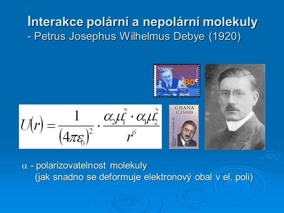 Interakce polární a nepolární molekuly - Petrus Josephus Wilhelmus Debye (1920)