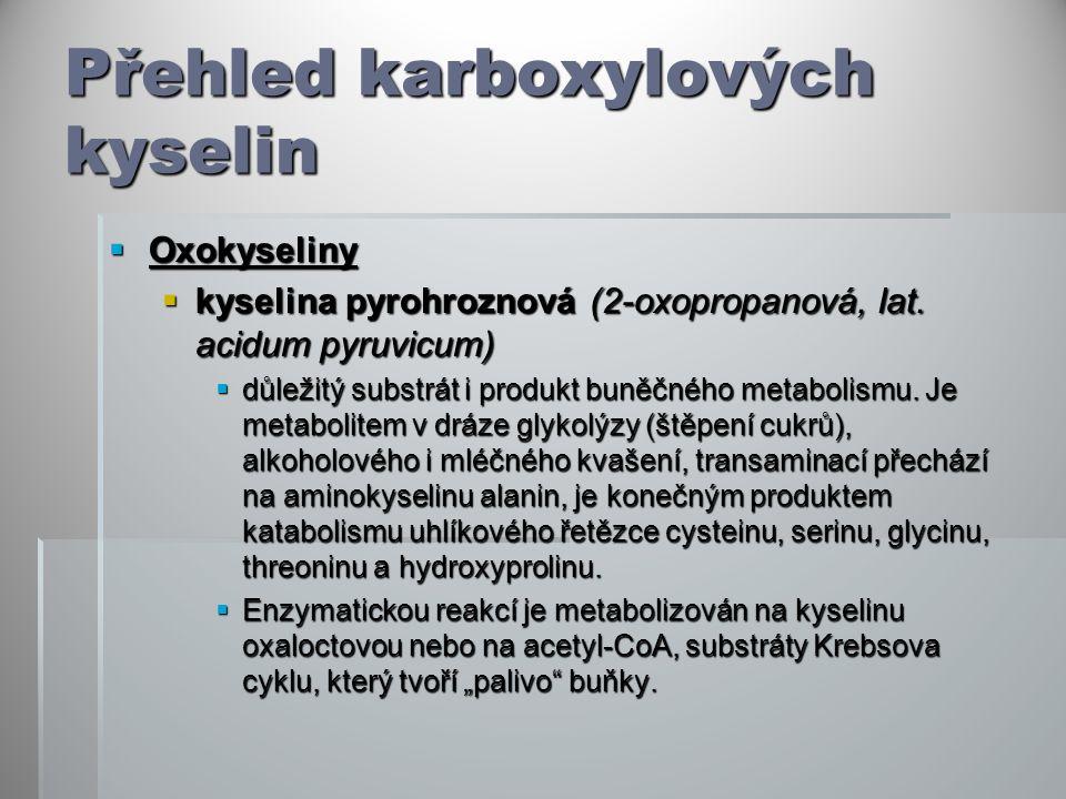 Přehled karboxylových kyselin