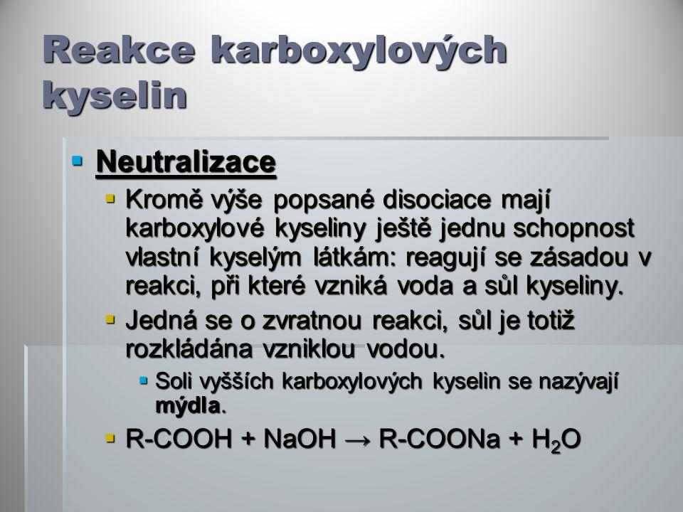 Reakce karboxylových kyselin