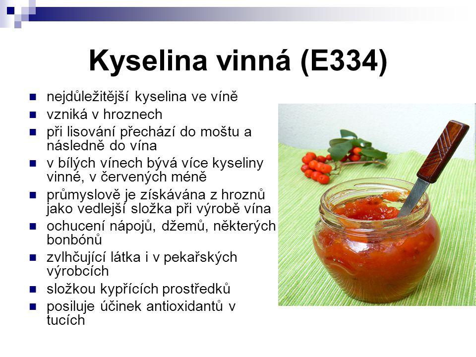 Kyselina vinná (E334) nejdůležitější kyselina ve víně
