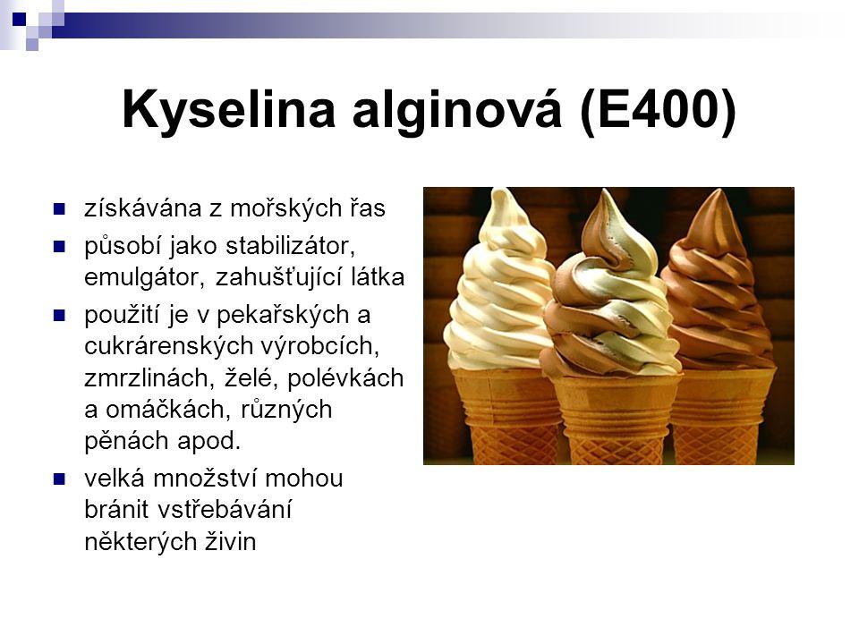 Kyselina alginová (E400) získávána z mořských řas