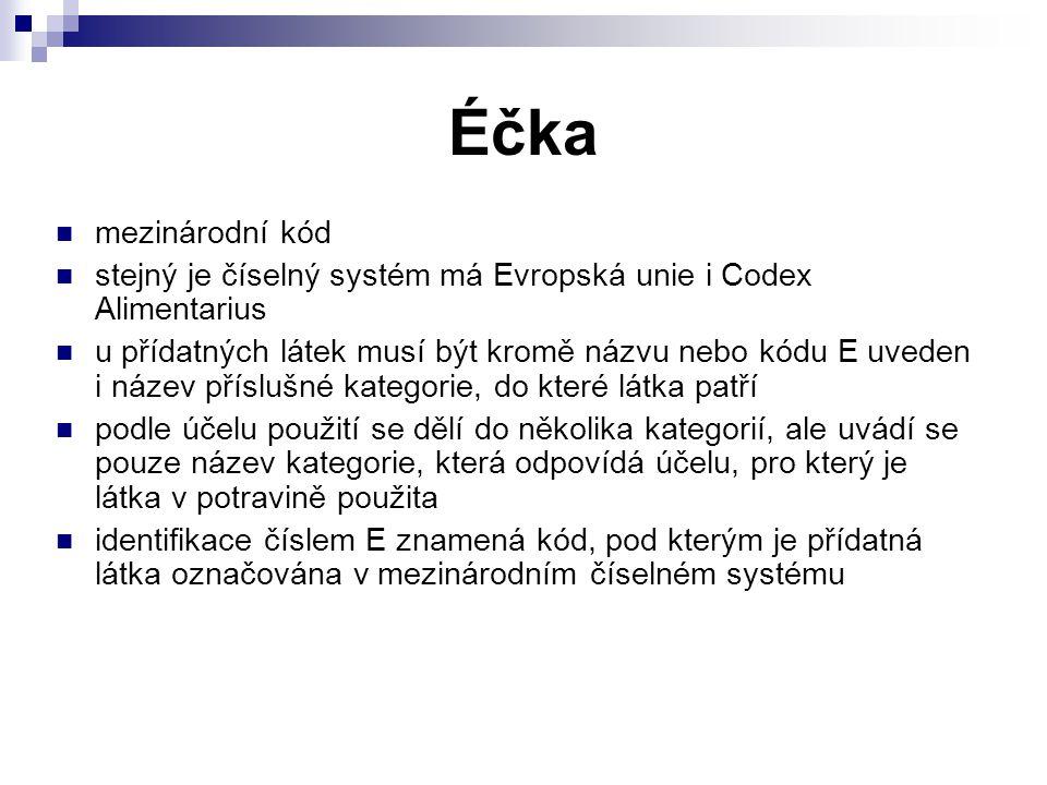 Éčka mezinárodní kód. stejný je číselný systém má Evropská unie i Codex Alimentarius.