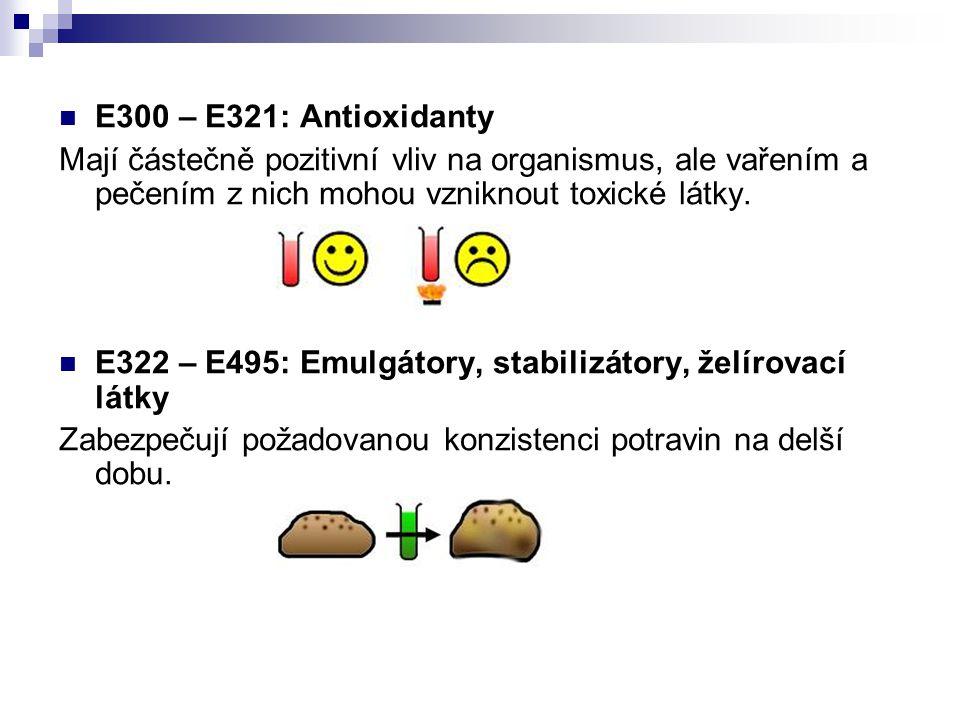 E300 – E321: Antioxidanty Mají částečně pozitivní vliv na organismus, ale vařením a pečením z nich mohou vzniknout toxické látky.